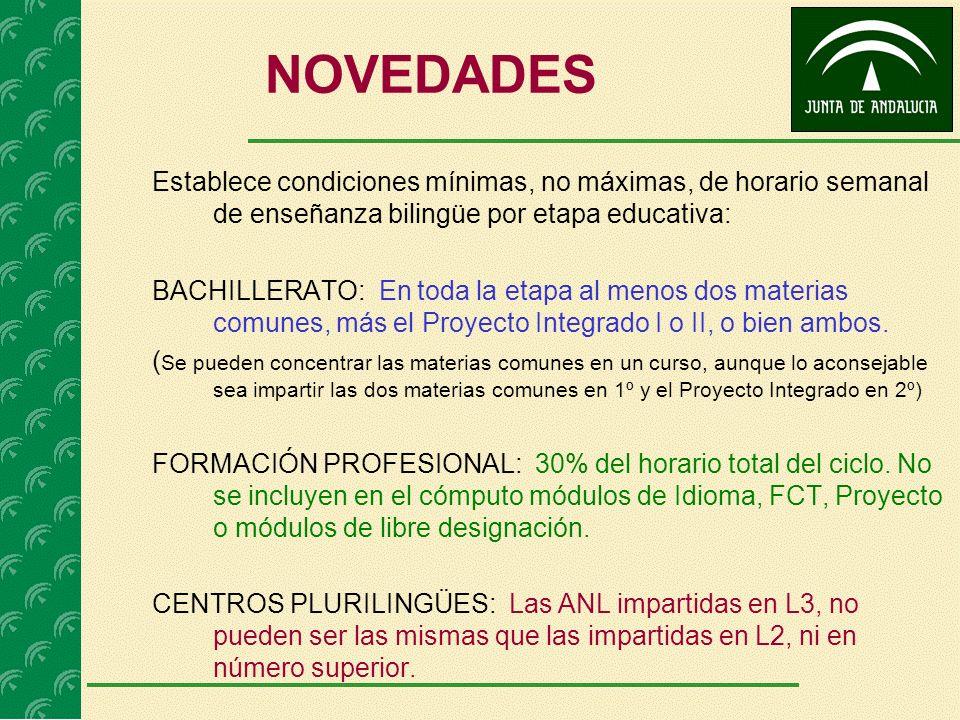 NOVEDADES Establece condiciones mínimas, no máximas, de horario semanal de enseñanza bilingüe por etapa educativa: BACHILLERATO: En toda la etapa al menos dos materias comunes, más el Proyecto Integrado I o II, o bien ambos.