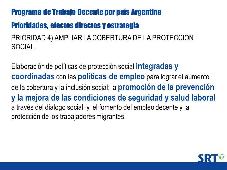 Programa de Trabajo Decente por país Argentina Prioridades, efectos directos y estrategia PRIORIDAD 4) AMPLIAR LA COBERTURA DE LA PROTECCION SOCIAL. E