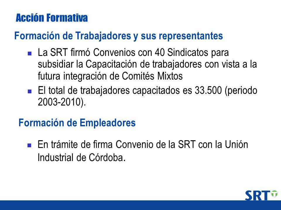 La SRT firmó Convenios con 40 Sindicatos para subsidiar la Capacitación de trabajadores con vista a la futura integración de Comités Mixtos El total d