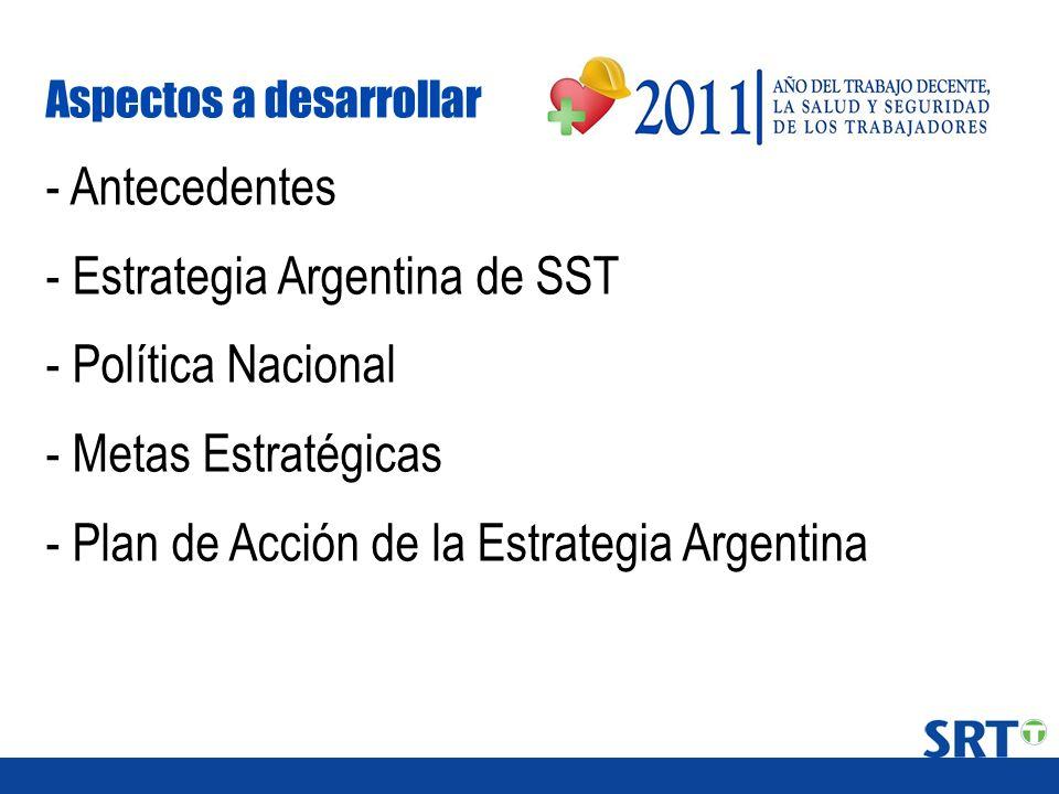 Aspectos a desarrollar - Antecedentes - Estrategia Argentina de SST - Política Nacional - Metas Estratégicas - Plan de Acción de la Estrategia Argenti