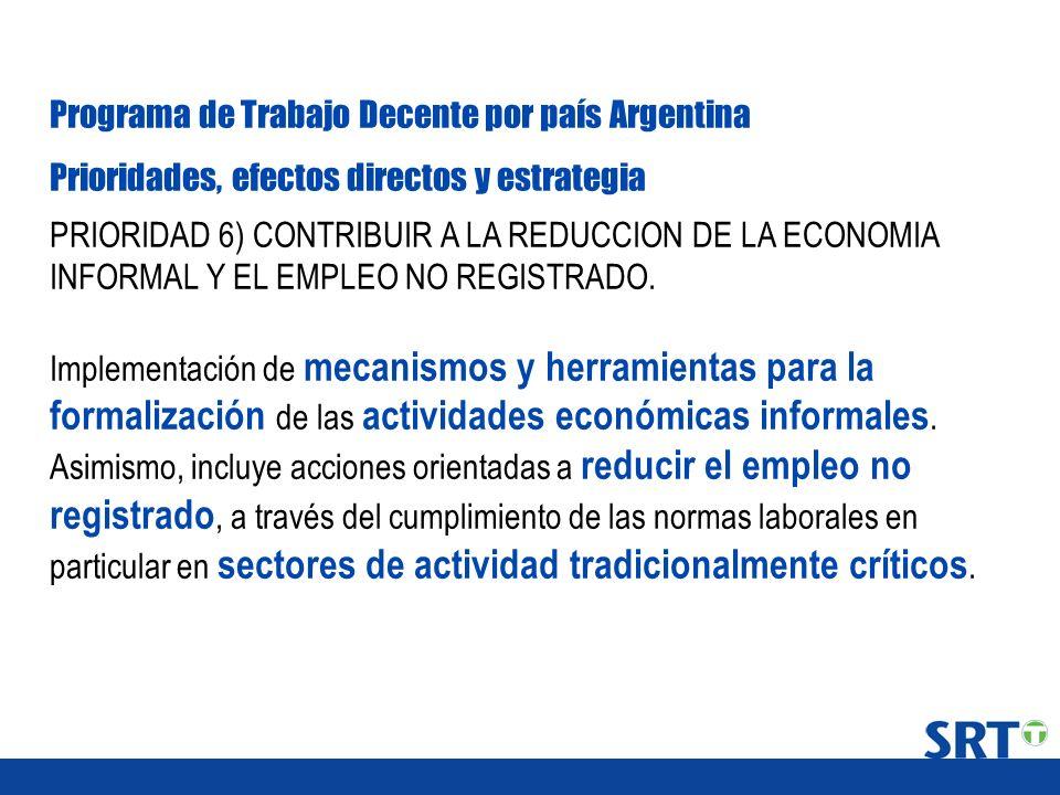 Programa de Trabajo Decente por país Argentina Prioridades, efectos directos y estrategia PRIORIDAD 6) CONTRIBUIR A LA REDUCCION DE LA ECONOMIA INFORM