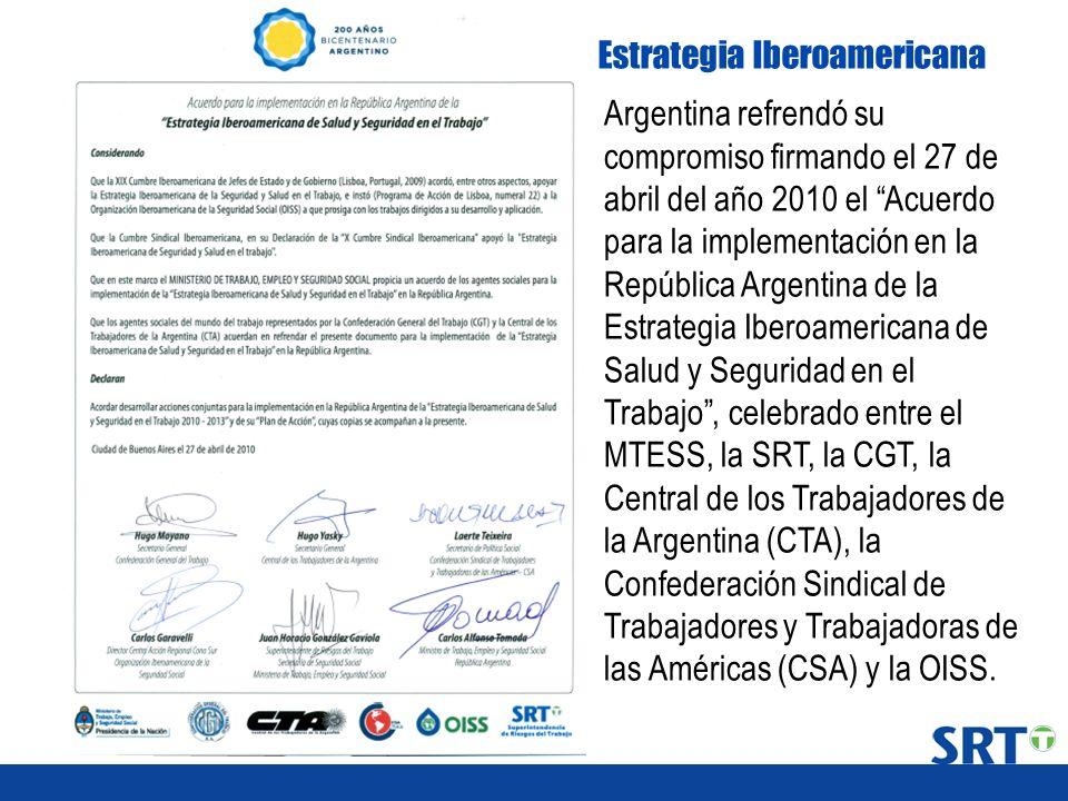 Argentina refrendó su compromiso firmando el 27 de abril del año 2010 el Acuerdo para la implementación en la República Argentina de la Estrategia Ibe
