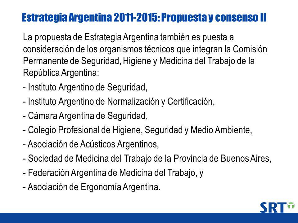 Estrategia Argentina 2011-2015: Propuesta y consenso II La propuesta de Estrategia Argentina también es puesta a consideración de los organismos técni