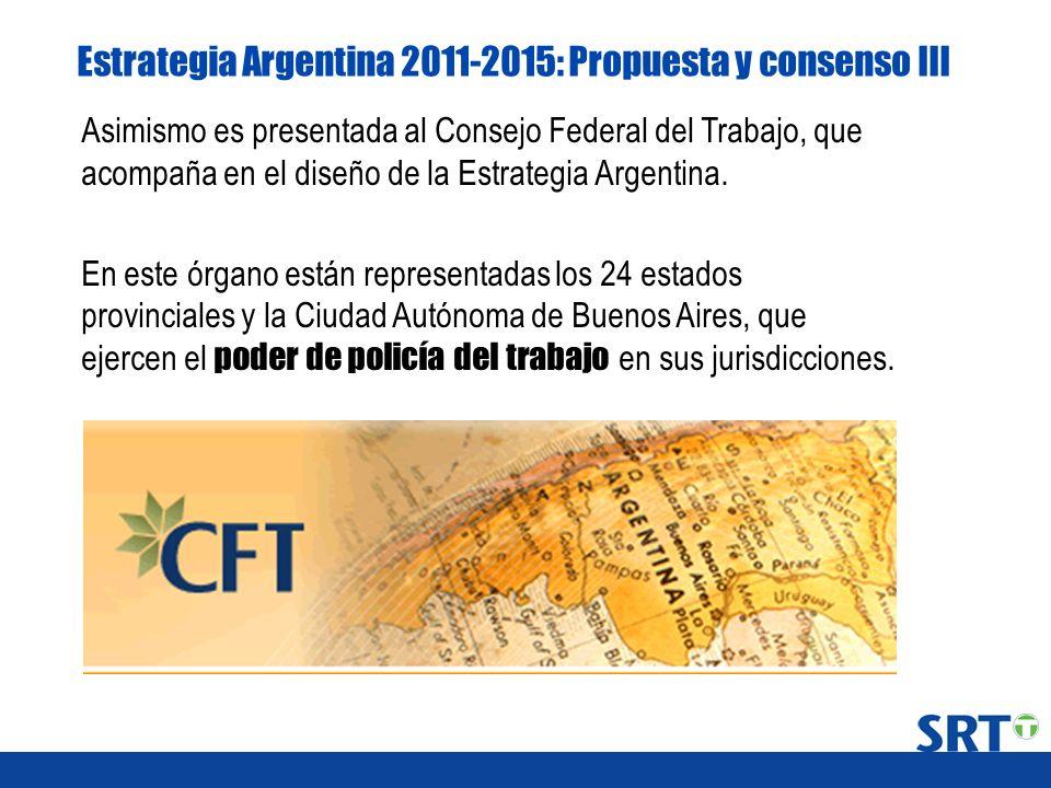 Estrategia Argentina 2011-2015: Propuesta y consenso III Asimismo es presentada al Consejo Federal del Trabajo, que acompaña en el diseño de la Estrat