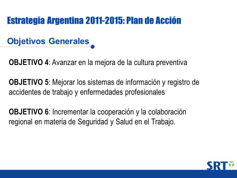 Objetivos Generales Estrategia Argentina 2011-2015: Plan de Acción OBJETIVO 4 : Avanzar en la mejora de la cultura preventiva OBJETIVO 5 : Mejorar los