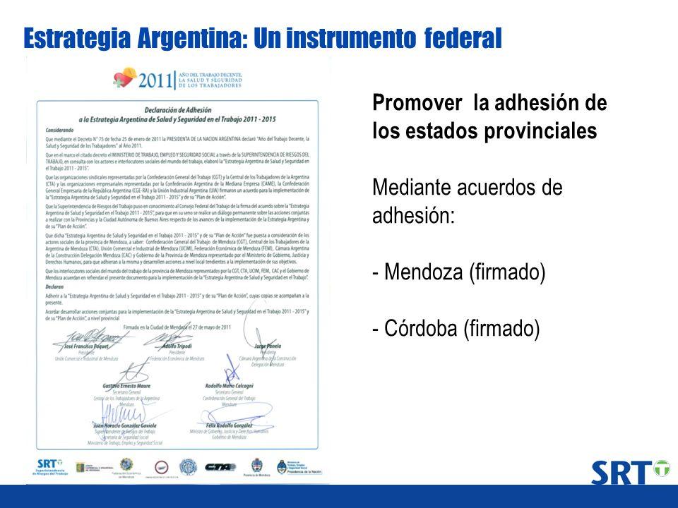 Estrategia Argentina: Un instrumento federal Promover la adhesión de los estados provinciales Mediante acuerdos de adhesión: - Mendoza (firmado) - Cór