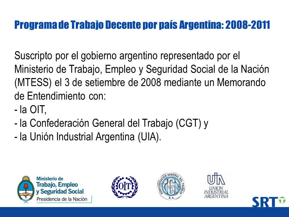 Programa de Trabajo Decente por país Argentina: 2008-2011 Suscripto por el gobierno argentino representado por el Ministerio de Trabajo, Empleo y Segu