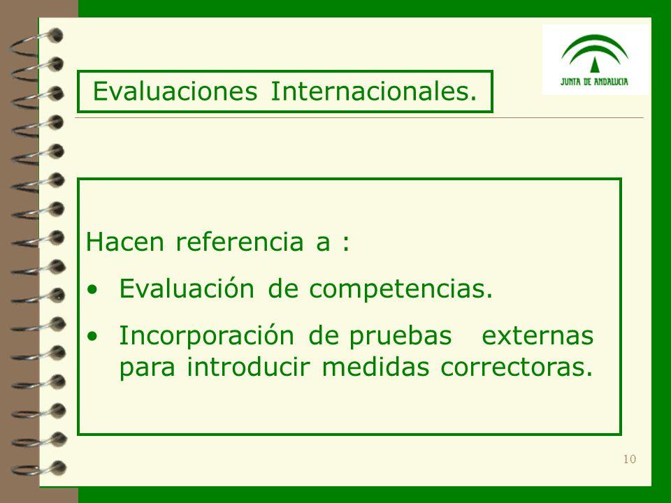10 Hacen referencia a : Evaluación de competencias.