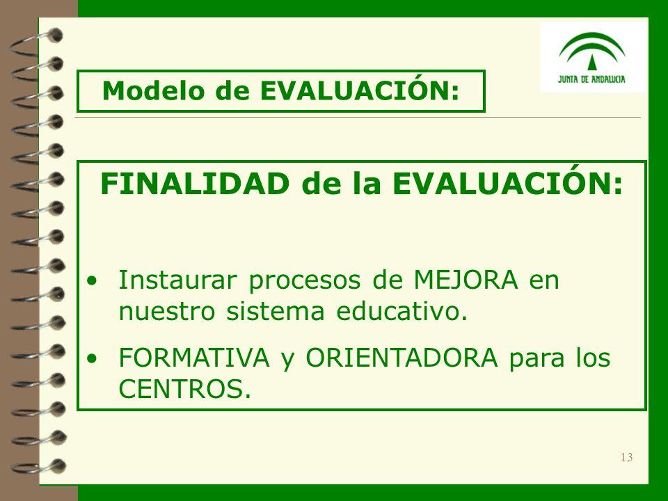 13 FINALIDAD de la EVALUACIÓN: Instaurar procesos de MEJORA en nuestro sistema educativo.
