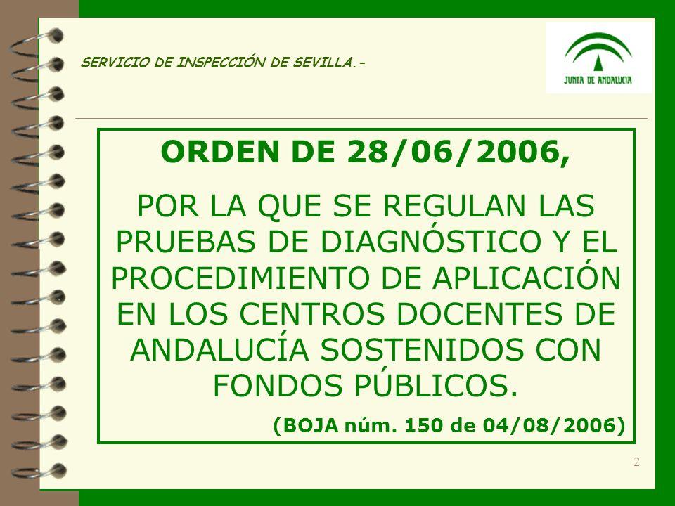 2 SERVICIO DE INSPECCIÓN DE SEVILLA.- ORDEN DE 28/06/2006, POR LA QUE SE REGULAN LAS PRUEBAS DE DIAGNÓSTICO Y EL PROCEDIMIENTO DE APLICACIÓN EN LOS CENTROS DOCENTES DE ANDALUCÍA SOSTENIDOS CON FONDOS PÚBLICOS.