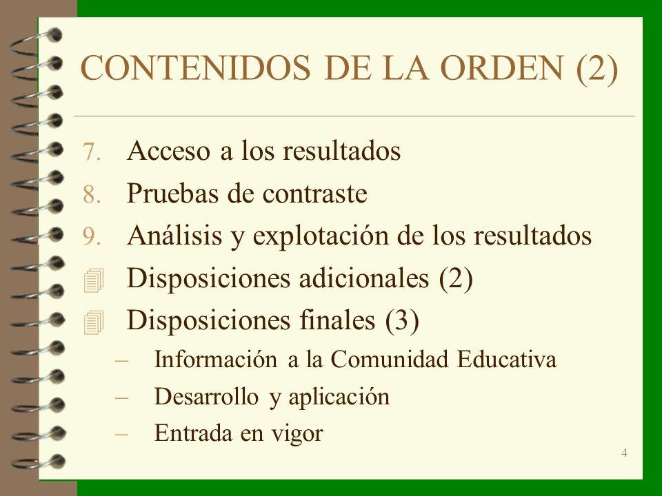 4 CONTENIDOS DE LA ORDEN (2) 7. Acceso a los resultados 8.