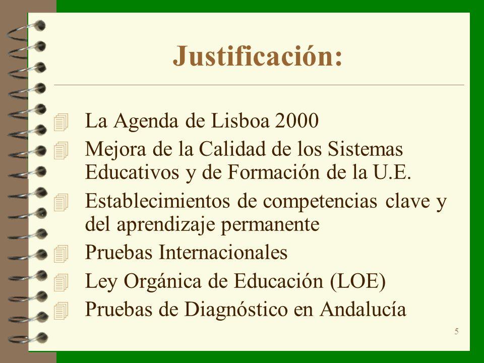 5 Justificación: 4 La Agenda de Lisboa 2000 4 Mejora de la Calidad de los Sistemas Educativos y de Formación de la U.E.