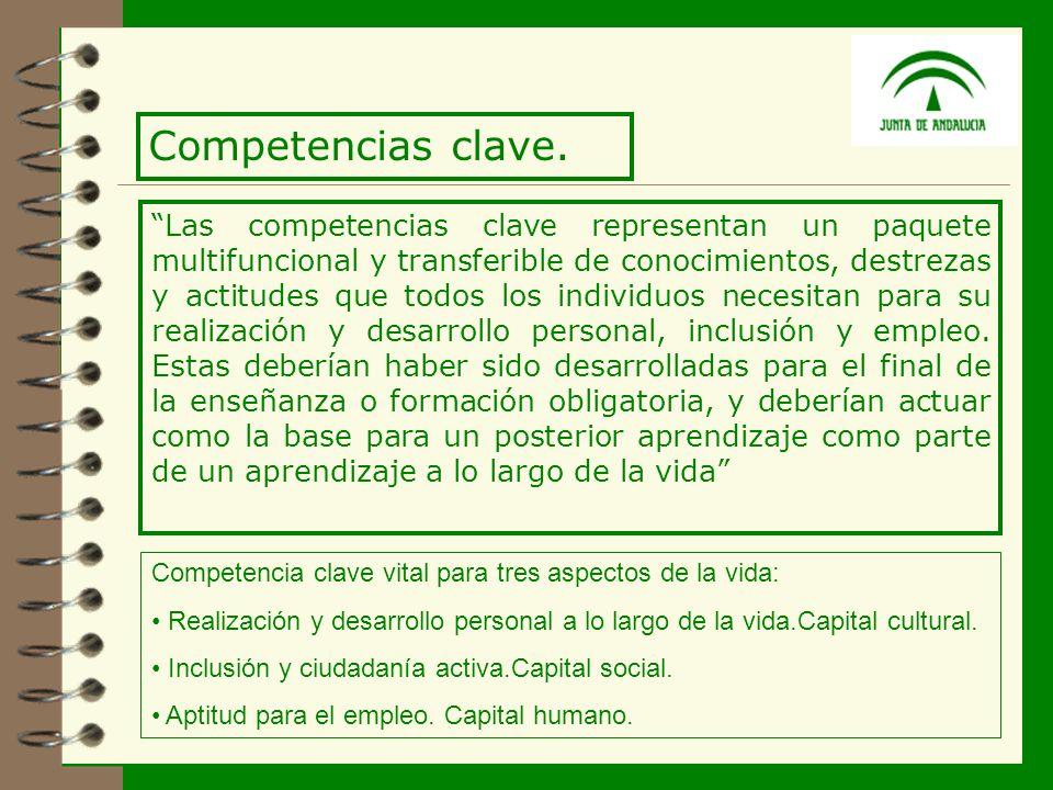 8 Las competencias clave representan un paquete multifuncional y transferible de conocimientos, destrezas y actitudes que todos los individuos necesitan para su realización y desarrollo personal, inclusión y empleo.