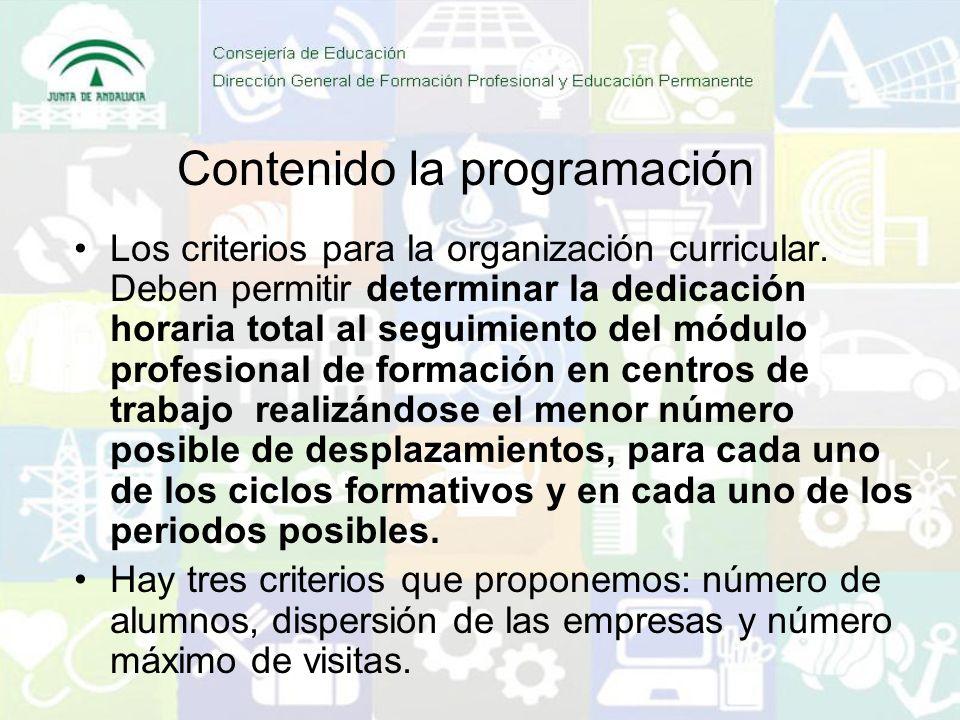 Contenido la programación Los criterios para la organización curricular. Deben permitir determinar la dedicación horaria total al seguimiento del módu