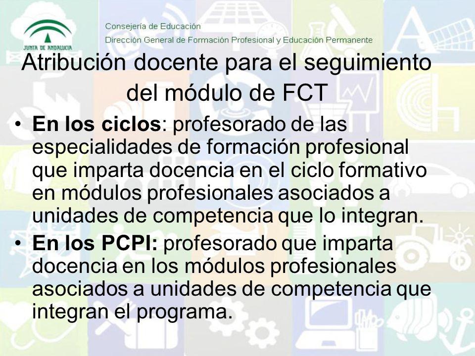 Atribución docente para el seguimiento del módulo de FCT En los ciclos: profesorado de las especialidades de formación profesional que imparta docenci