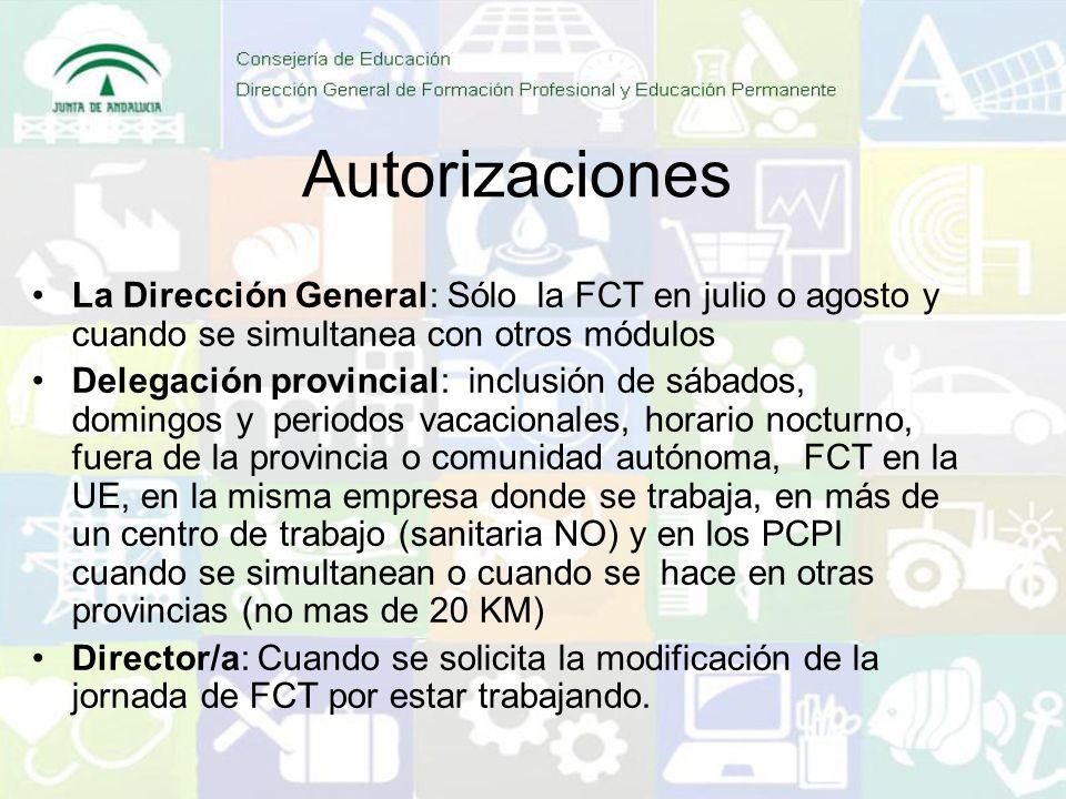 Autorizaciones La Dirección General: Sólo la FCT en julio o agosto y cuando se simultanea con otros módulos Delegación provincial: inclusión de sábados, domingos y periodos vacacionales, horario nocturno, fuera de la provincia o comunidad autónoma, FCT en la UE, en la misma empresa donde se trabaja, en más de un centro de trabajo (sanitaria NO) y en los PCPI cuando se simultanean o cuando se hace en otras provincias (no mas de 20 KM) Director/a: Cuando se solicita la modificación de la jornada de FCT por estar trabajando.