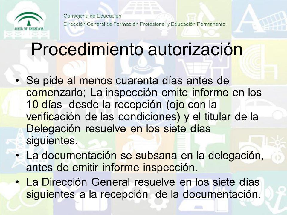 Procedimiento autorización Se pide al menos cuarenta días antes de comenzarlo; La inspección emite informe en los 10 días desde la recepción (ojo con la verificación de las condiciones) y el titular de la Delegación resuelve en los siete días siguientes.