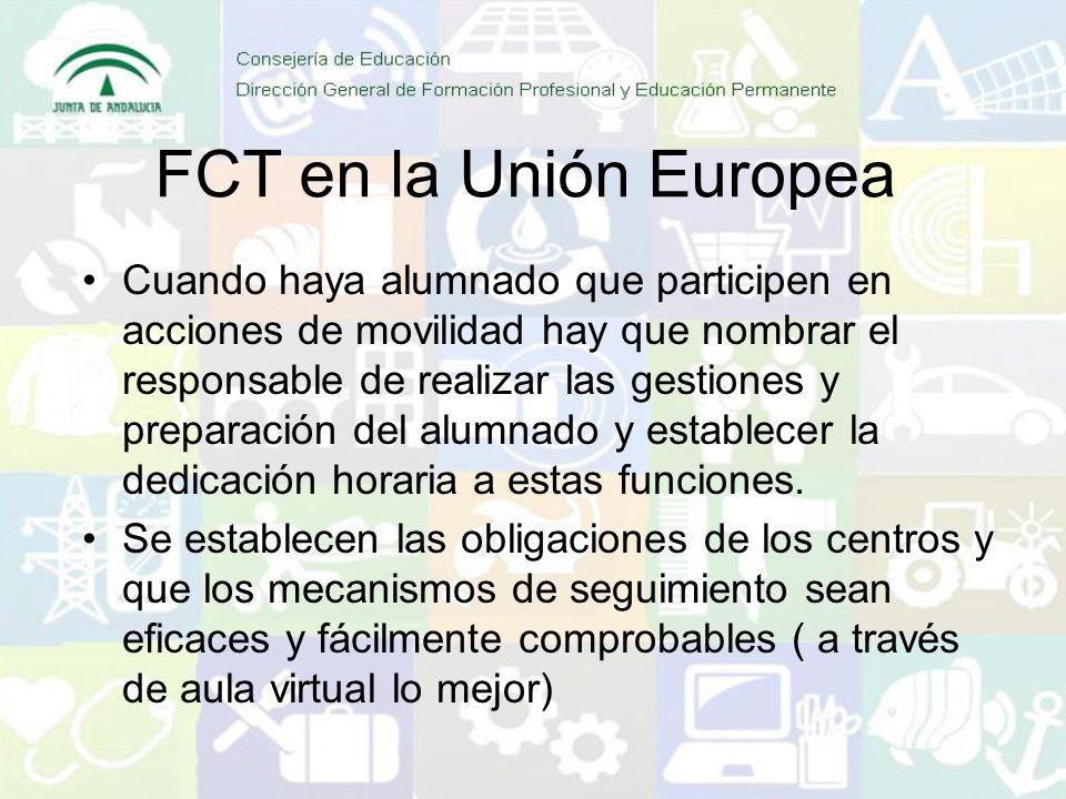 FCT en la Unión Europea Cuando haya alumnado que participen en acciones de movilidad hay que nombrar el responsable de realizar las gestiones y preparación del alumnado y establecer la dedicación horaria a estas funciones.