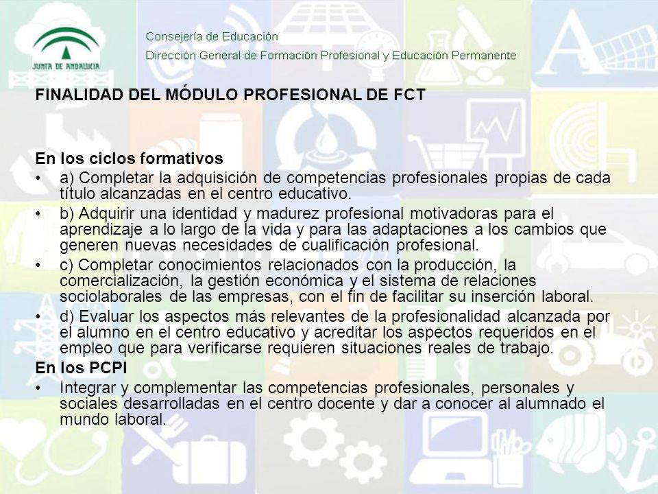 En los ciclos formativos a) Completar la adquisición de competencias profesionales propias de cada título alcanzadas en el centro educativo. b) Adquir