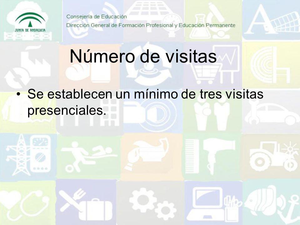 Número de visitas Se establecen un mínimo de tres visitas presenciales.