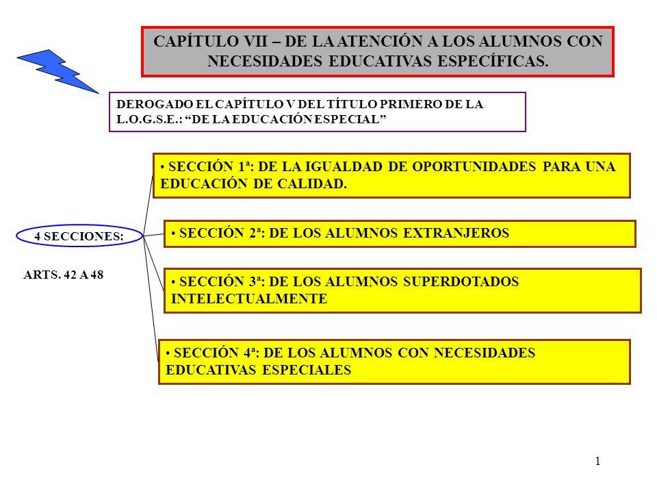 1 CAPÍTULO VII – DE LA ATENCIÓN A LOS ALUMNOS CON NECESIDADES EDUCATIVAS ESPECÍFICAS. DEROGADO EL CAPÍTULO V DEL TÍTULO PRIMERO DE LA L.O.G.S.E.: DE L