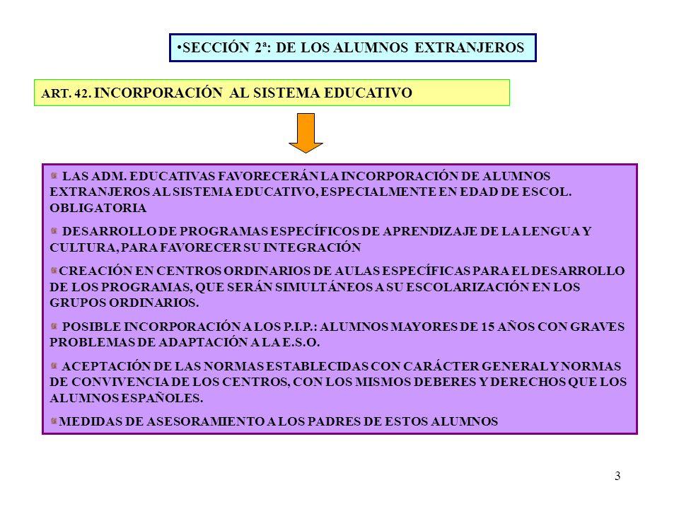 3 SECCIÓN 2ª: DE LOS ALUMNOS EXTRANJEROS ART. 42. INCORPORACIÓN AL SISTEMA EDUCATIVO LAS ADM. EDUCATIVAS FAVORECERÁN LA INCORPORACIÓN DE ALUMNOS EXTRA