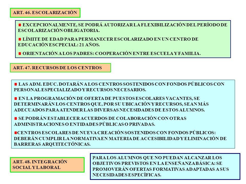 7 ART. 46. ESCOLARIZACIÓN EXCEPCIONALMENTE, SE PODRÁ AUTORIZAR LA FLEXIBILIZACIÓN DEL PERÍODO DE ESCOLARIZACIÓN OBLIGATORIA. LÍMITE DE EDAD PARA PERMA