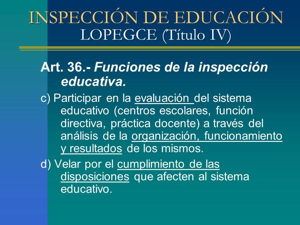 INSPECCIÓN DE EDUCACIÓN LOPEGCE (Título IV) Art. 36.- Funciones de la inspección educativa. c) Participar en la evaluación del sistema educativo (cent