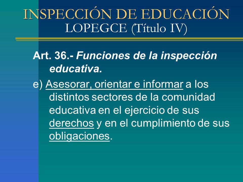 INSPECCIÓN DE EDUCACIÓN LOPEGCE (Título IV) Art. 36.- Funciones de la inspección educativa. e) Asesorar, orientar e informar a los distintos sectores