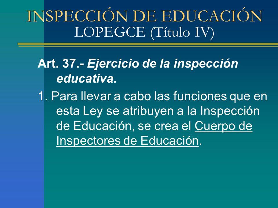 INSPECCIÓN DE EDUCACIÓN LOPEGCE (Título IV) Art. 37.- Ejercicio de la inspección educativa. 1. Para llevar a cabo las funciones que en esta Ley se atr