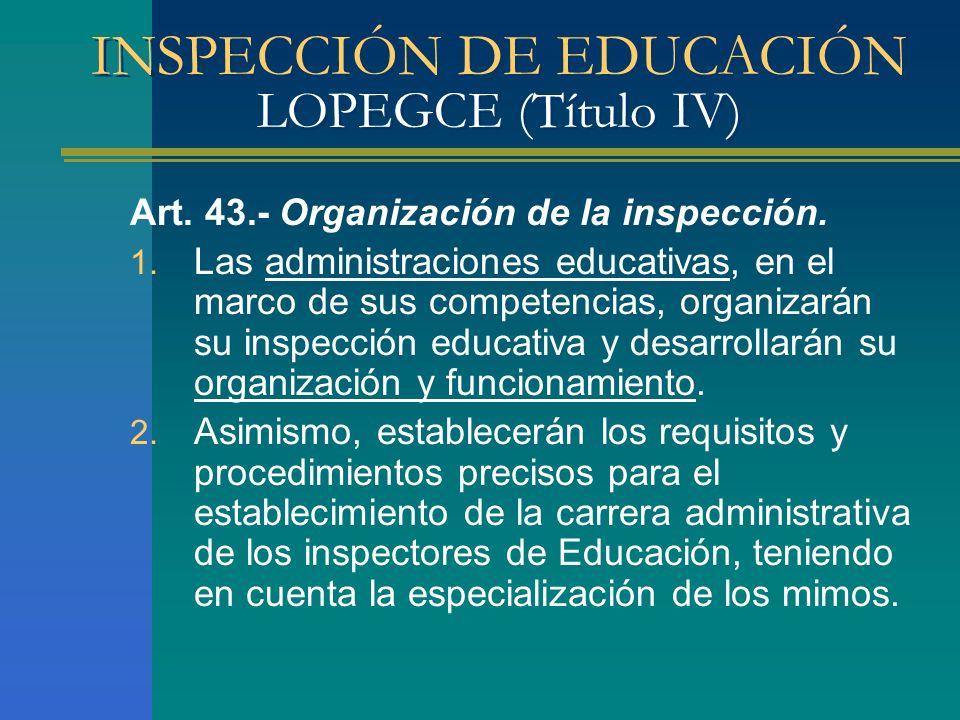 INSPECCIÓN DE EDUCACIÓN LOPEGCE (Título IV) Art. 43.- Organización de la inspección. 1. Las administraciones educativas, en el marco de sus competenci