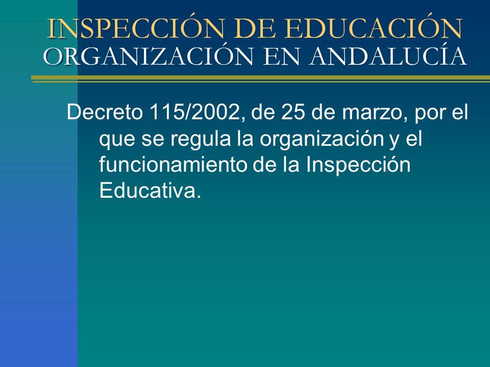 INSPECCIÓN DE EDUCACIÓN ORGANIZACIÓN EN ANDALUCÍA Decreto 115/2002, de 25 de marzo, por el que se regula la organización y el funcionamiento de la Ins