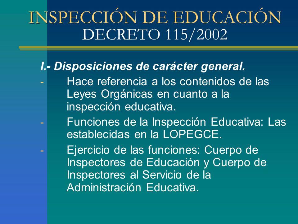 INSPECCIÓN DE EDUCACIÓN DECRETO 115/2002 I.- Disposiciones de carácter general. - Hace referencia a los contenidos de las Leyes Orgánicas en cuanto a