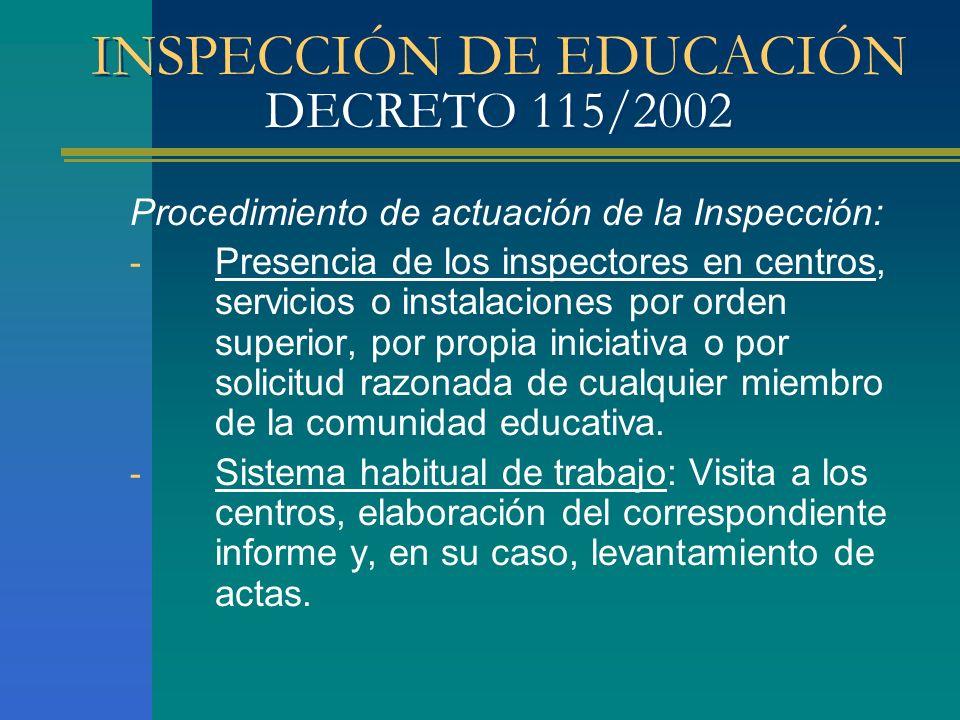 INSPECCIÓN DE EDUCACIÓN DECRETO 115/2002 Procedimiento de actuación de la Inspección: - Presencia de los inspectores en centros, servicios o instalaci