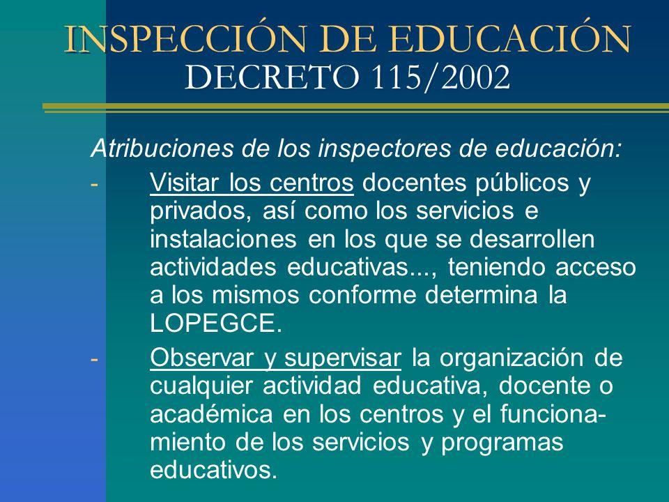 INSPECCIÓN DE EDUCACIÓN DECRETO 115/2002 Atribuciones de los inspectores de educación: - Visitar los centros docentes públicos y privados, así como lo
