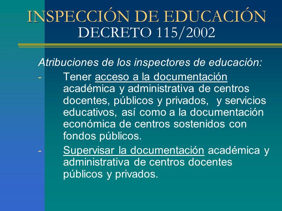 INSPECCIÓN DE EDUCACIÓN DECRETO 115/2002 Atribuciones de los inspectores de educación: - Tener acceso a la documentación académica y administrativa de