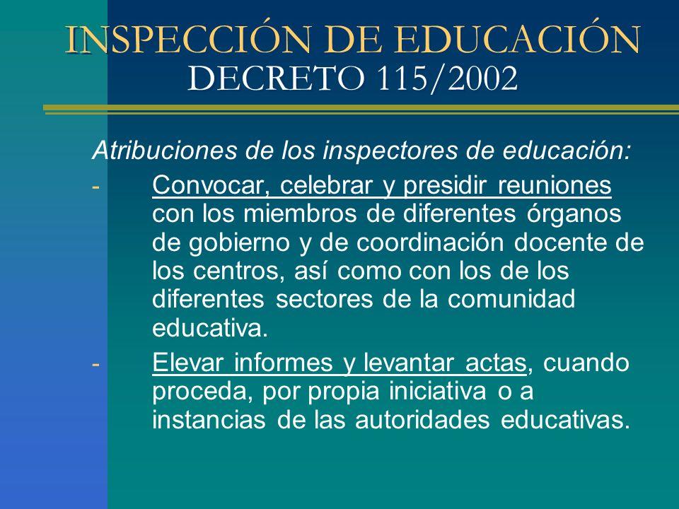 INSPECCIÓN DE EDUCACIÓN DECRETO 115/2002 Atribuciones de los inspectores de educación: - Convocar, celebrar y presidir reuniones con los miembros de d