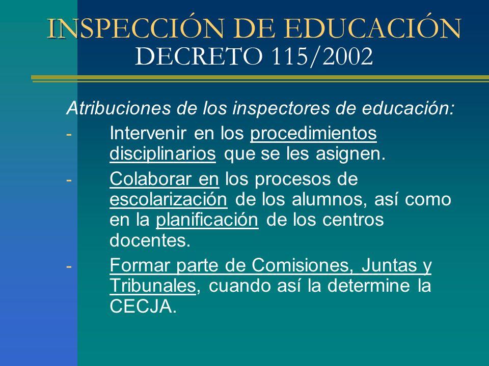 INSPECCIÓN DE EDUCACIÓN DECRETO 115/2002 Atribuciones de los inspectores de educación: - Intervenir en los procedimientos disciplinarios que se les as
