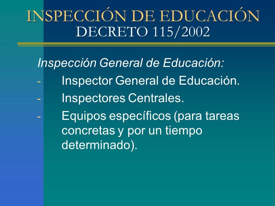 INSPECCIÓN DE EDUCACIÓN DECRETO 115/2002 Inspección General de Educación: - Inspector General de Educación. - Inspectores Centrales. - Equipos específ