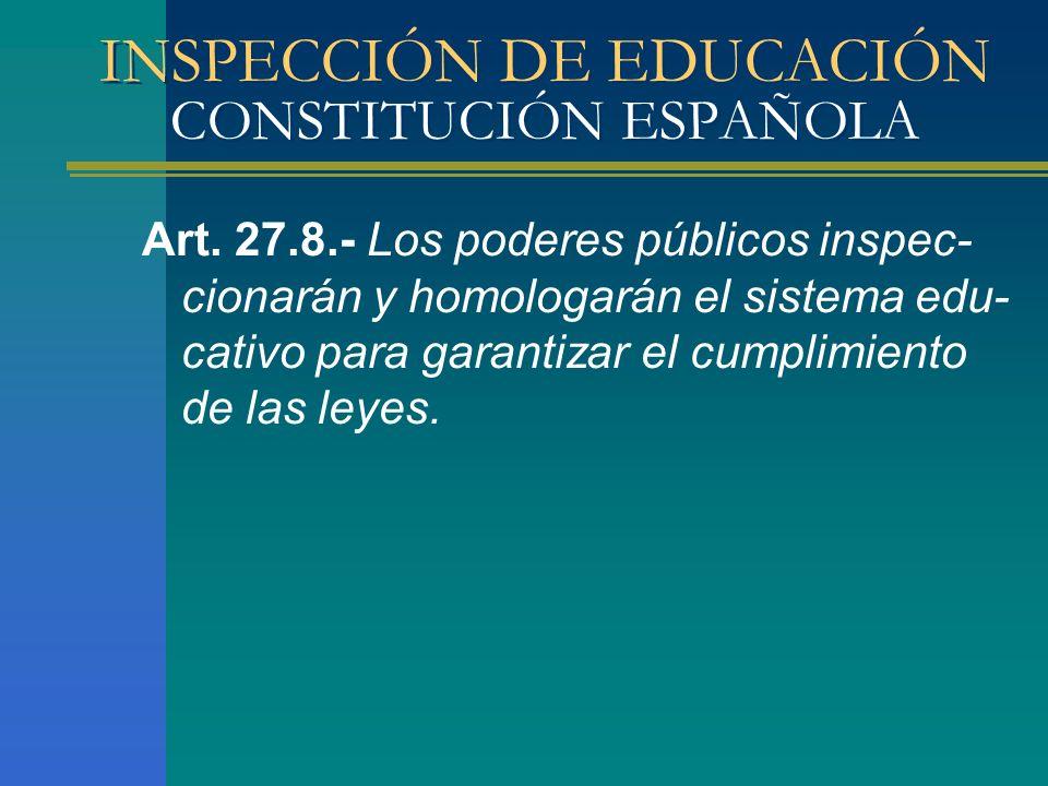 INSPECCIÓN DE EDUCACIÓN CONSTITUCIÓN ESPAÑOLA Art. 27.8.- Los poderes públicos inspec- cionarán y homologarán el sistema edu- cativo para garantizar e
