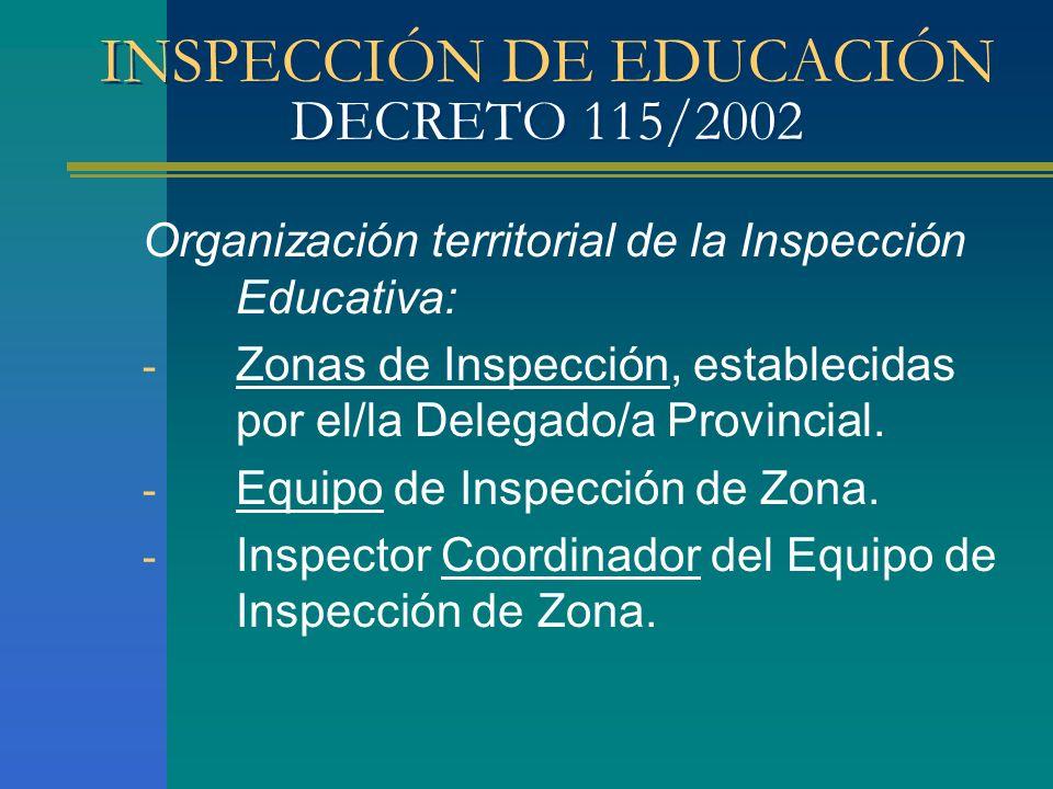 INSPECCIÓN DE EDUCACIÓN DECRETO 115/2002 Organización territorial de la Inspección Educativa: - Zonas de Inspección, establecidas por el/la Delegado/a