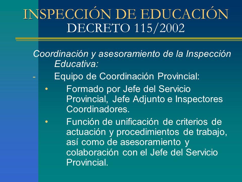 INSPECCIÓN DE EDUCACIÓN DECRETO 115/2002 Coordinación y asesoramiento de la Inspección Educativa: - Equipo de Coordinación Provincial: Formado por Jef
