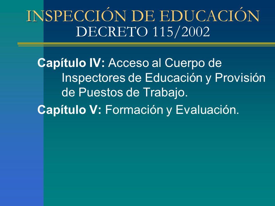 INSPECCIÓN DE EDUCACIÓN DECRETO 115/2002 Capítulo IV: Acceso al Cuerpo de Inspectores de Educación y Provisión de Puestos de Trabajo. Capítulo V: Form