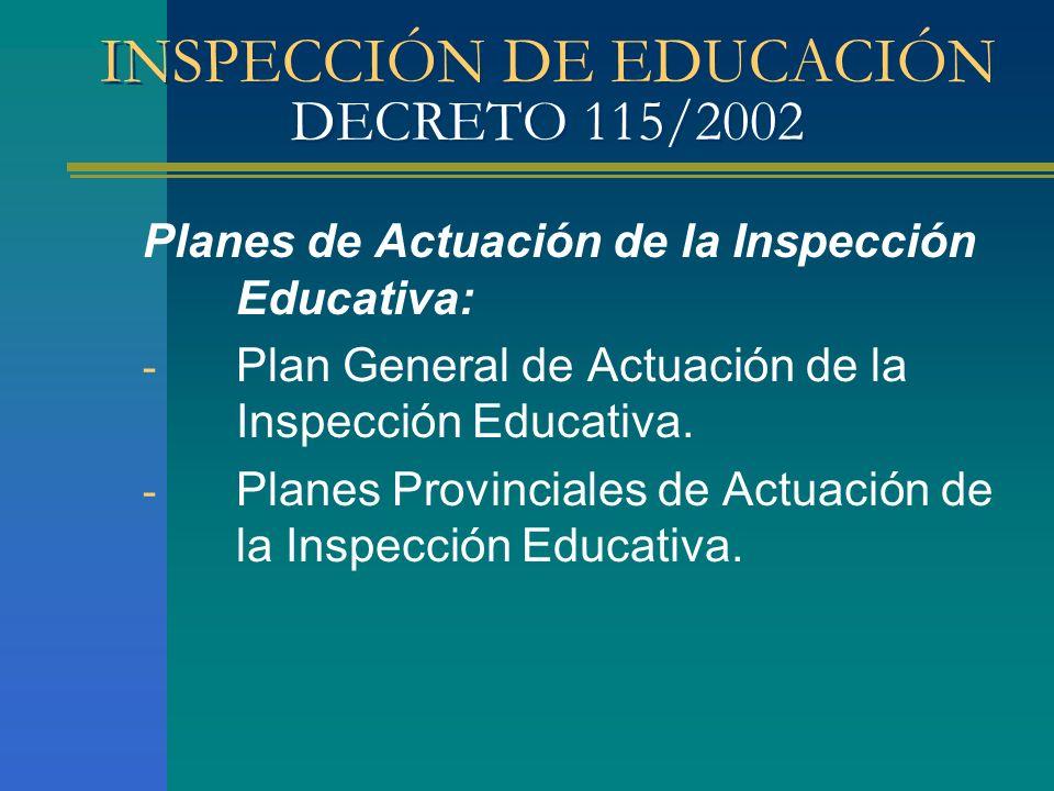 INSPECCIÓN DE EDUCACIÓN DECRETO 115/2002 Planes de Actuación de la Inspección Educativa: - Plan General de Actuación de la Inspección Educativa. - Pla