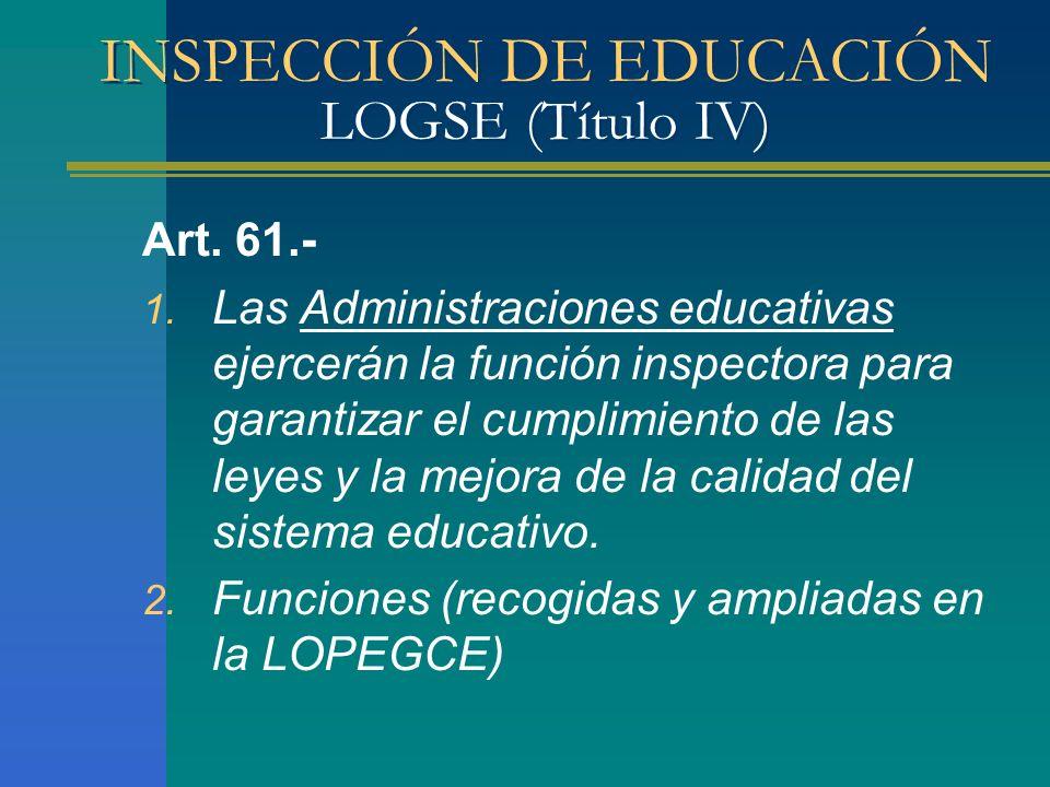 INSPECCIÓN DE EDUCACIÓN LOGSE (Título IV) Art. 61.- 1. Las Administraciones educativas ejercerán la función inspectora para garantizar el cumplimiento