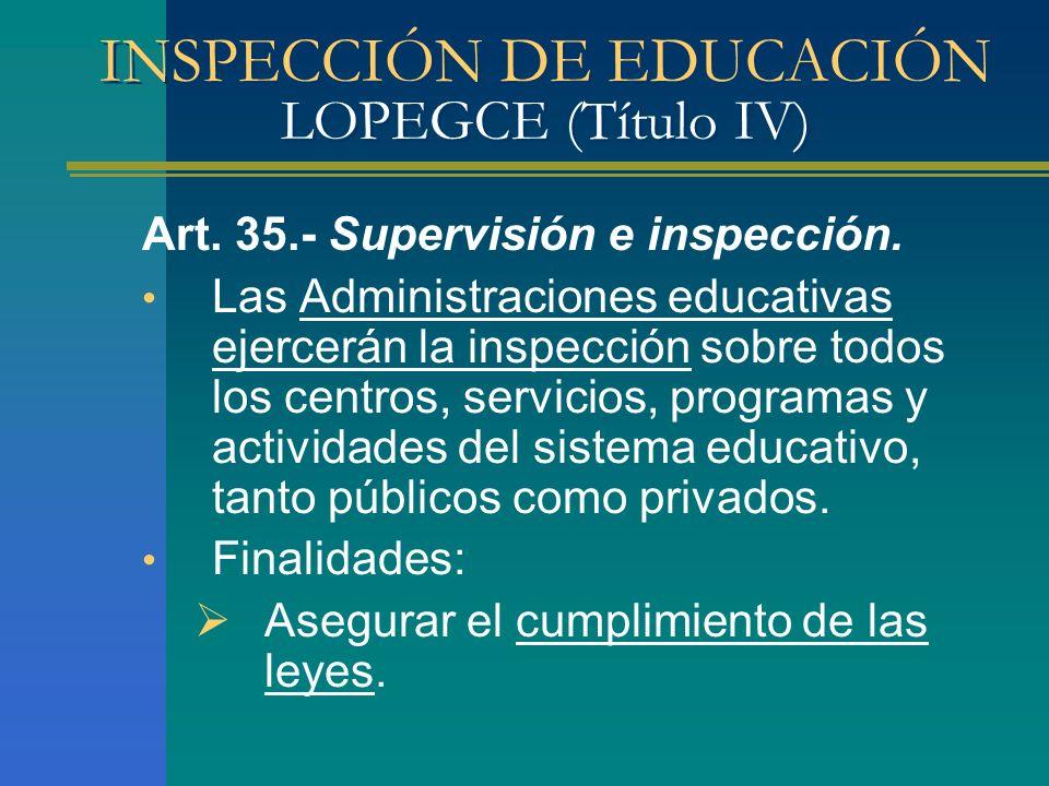 INSPECCIÓN DE EDUCACIÓN LOPEGCE (Título IV) Art. 35.- Supervisión e inspección. Las Administraciones educativas ejercerán la inspección sobre todos lo
