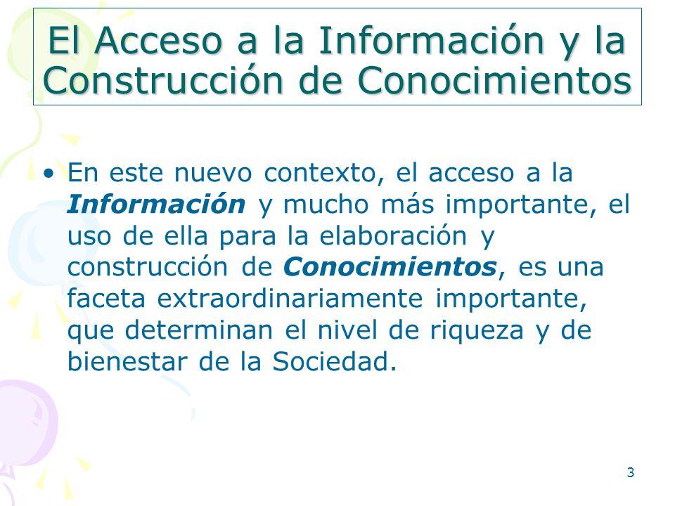 3 El Acceso a la Información y la Construcción de Conocimientos En este nuevo contexto, el acceso a la Información y mucho más importante, el uso de e