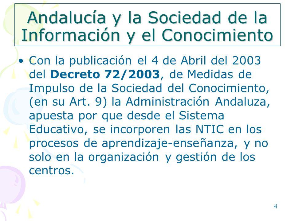 4 Andalucía y la Sociedad de la Información y el Conocimiento Con la publicación el 4 de Abril del 2003 del Decreto 72/2003, de Medidas de Impulso de