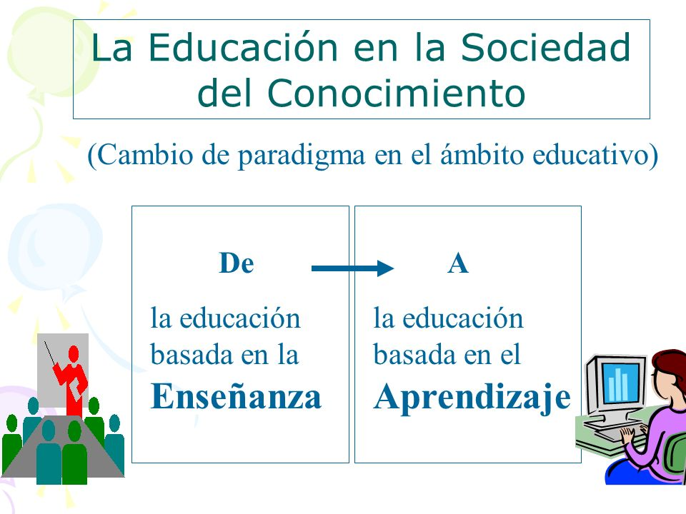 7 (Cambio de paradigma en el ámbito educativo) La Educación en la Sociedad del Conocimiento De la educación basada en la Enseñanza A la educación basa