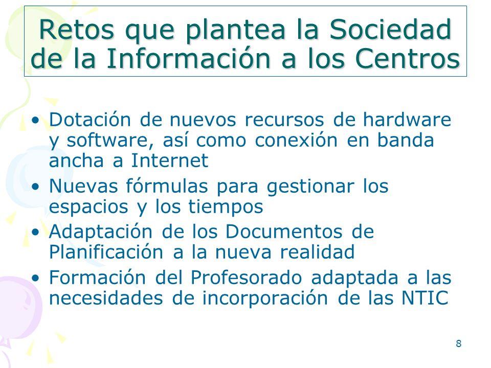 9 Retos del Profesorado en la Sociedad del Conocimiento 1.- Su alfabetización digital 2.- Nuevas metodologías didácticas 3.- Enseñar a aprender.